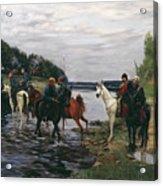 Rubicon. Crossing The River By Denis Davydov Squadron. 1812. Acrylic Print