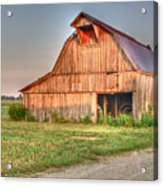 Ruddish Barn At Dawn Acrylic Print by Douglas Barnett