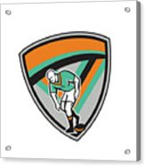 Rugby League Player Playing Ball Shield Retro Acrylic Print
