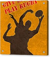 Rugby Player Jumping Catching Ball In Lineout Acrylic Print