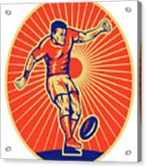 Rugby Player Kicking Ball Woodcut Acrylic Print