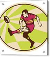 Rugby Player Kicking The Ball Retro Acrylic Print by Aloysius Patrimonio