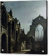 Ruins Of Holyrood Chapel Acrylic Print by Louis Jacques Mande Daguerre