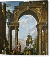 Ruins With The Statue Of Marcus Aurelius Giovanni Paolo Panini Acrylic Print