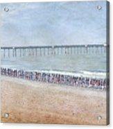 Runners On The Beach Panorama Acrylic Print