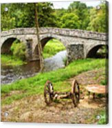 Rural France With Old Stone Arched Bridge Acrylic Print