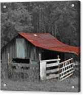 Rural Red - Red Roof Barn Rustic Country Rural Acrylic Print