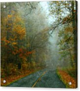 Rural Road In North Carolina With Autumn Colors Acrylic Print