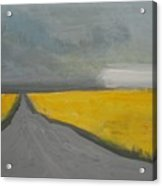 Rural Road Trough Canola Field Acrylic Print