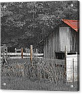 Rural Serenity Black And White Version - Red Roof Barn Rustic Country Rural Acrylic Print