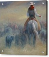Rush Hour Traffic   Western Art Cowboy Painting Acrylic Print