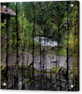 Rushing Cascade In The Andes - On Bark Acrylic Print