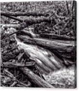 Rushing Stream - Bw Acrylic Print