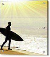 Rushing Surfer Acrylic Print by Carlos Caetano