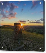 Rushup Edge From Mam Tor Summit Sunset Acrylic Print