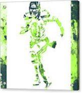 Russell Wilson Seattle Seahawks Water Color Art 1 Acrylic Print