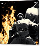 Russian Soldier Statue In Snow And Fire Acrylic Print