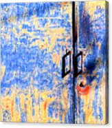 Rusted Blue And Yellow Door Acrylic Print