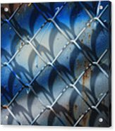 Rusted Fence With Blue Paint Acrylic Print