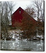 Rustic Barn By The Frozen Lake Acrylic Print