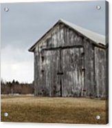 Rustic Barn With Dark Clouds Acrylic Print