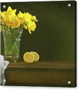 Rustic Still Life With Daffodils Acrylic Print