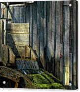 Rustic Water Wheel With Moss Acrylic Print