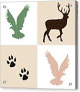 Rustic Wildlife Pattern Acrylic Print