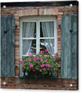 Rustic Window And Red Bricks Wall Acrylic Print by Yair Karelic