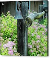 Rusty Bell On Weathered Fence Acrylic Print