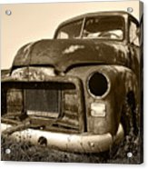 Rusty But Trusty Old Gmc Pickup Truck - Sepia Acrylic Print by Gordon Dean II