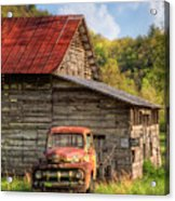 Rusty Ford At The Barn Acrylic Print