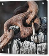Rusty Iron Chain Railing Fragment Acrylic Print