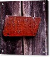 Rusty License Plate Acrylic Print