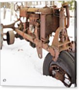 Rusty Old Steel Wheel Tractor In The Snow Tilt Shift Acrylic Print