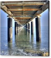 Rusty Pier  On The Ocean  From Below Acrylic Print