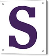 S In Purple Typewriter Style Acrylic Print