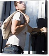 Sacked Man Entering Unemployment Office Acrylic Print