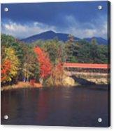 Saco River Covered Bridge Storm Acrylic Print