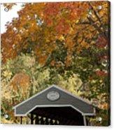 Saco River Covered Bridge Under Fall Foliage Acrylic Print