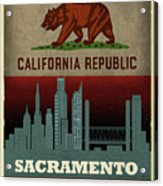 Sacramento City Skyline State Flag Of California Art Poster Series 023 Acrylic Print