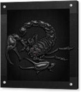 Sacred Black Scorpion On Black Canvas Acrylic Print