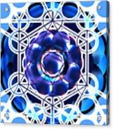 Sacred Geometry Blue Shapes Background Acrylic Print