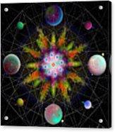 Sacred Planetary Geometry - Dark Red Atom Acrylic Print