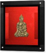 Sacred Symbols - Gold Buddha On Black And Red  Acrylic Print