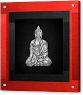 Sacred Symbols - Silver Buddha On Red And Black Acrylic Print