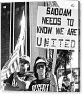Saddam Needs To Know Pro Desert Storm Rally Tucson Arizona 1991 Acrylic Print