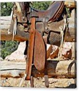 Saddle On Ranch Fence Acrylic Print