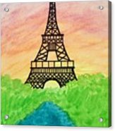 Saffron Sunset Over Eiffel Tower In Paris-watercolour  Acrylic Print