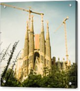 Sagrada Familia With Catalonia's Flag Acrylic Print